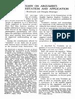 Brockriede & Ehninger (1960s) Toulmin on Argument - An Interpretation and Application (Best)