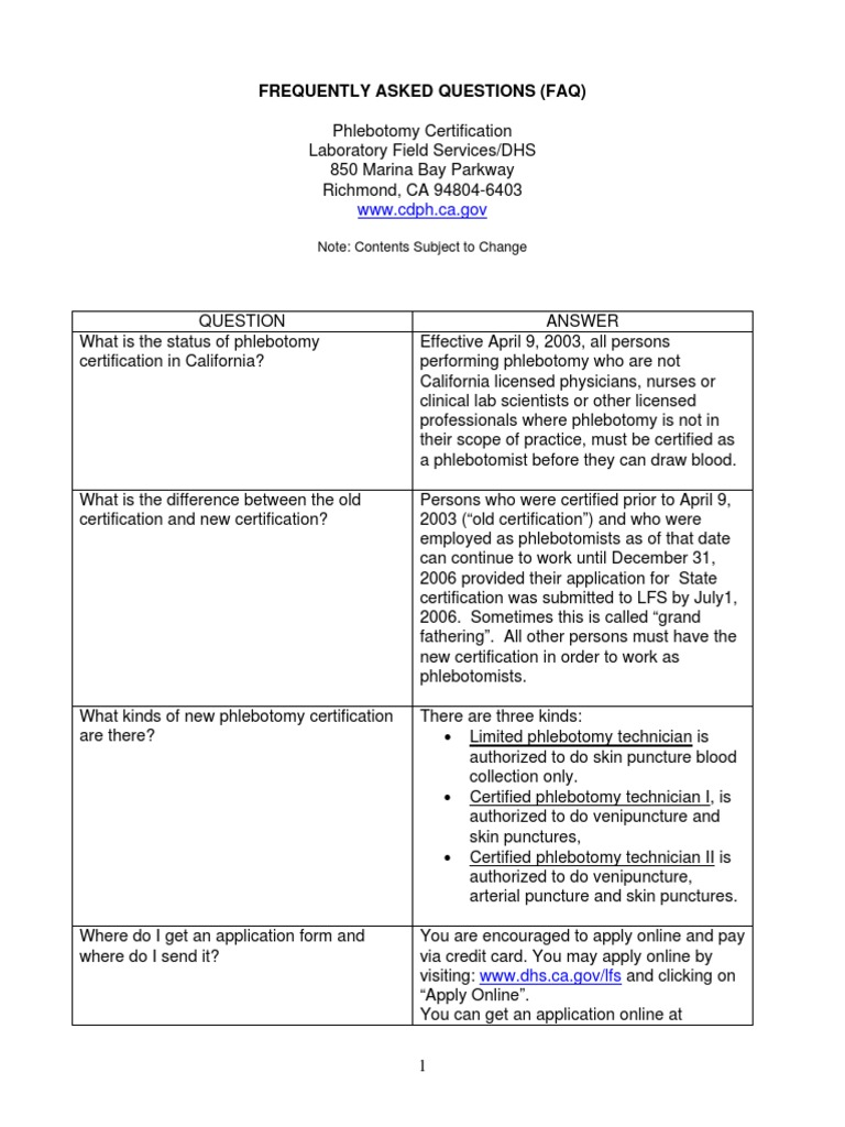 Phlebotomy faq071106 professional certification health care 1betcityfo Images