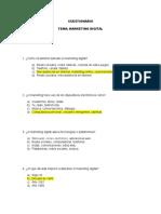 Cuestionario de Marketing Digital