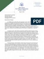 Rep Hunter to Secretary Fanning--SFC Plumlee