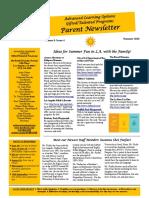 parent newletter summer 2016 bsm