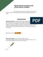 Herramientas Que Se Utilizan en Una Reparación de Latonería