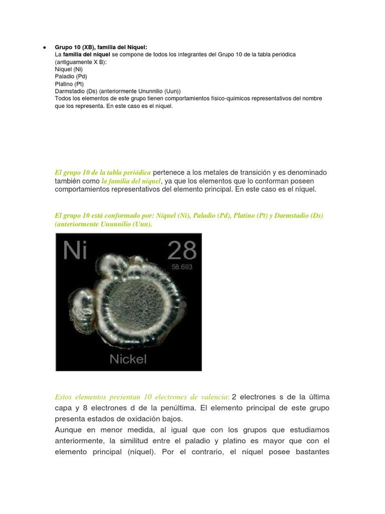 grupo 10 tabla periodica elementos - Tabla Periodica Elementos Quimicos Grupos