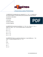 Lista de Exercício Sobre Polinômios