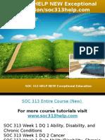 SOC 313 HELP NEW Exceptional Education-soc313help.com