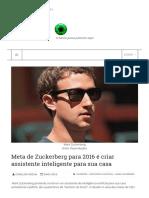 ((()))Notícia_ Meta de Zuckerberg Para 2016 é Criar Assistente Inteligente Para Sua Casa