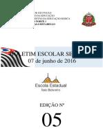 Boletim Escolar Semanal nº 05 - 07/06/2016