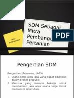 SDM Sebagai Mitra Pembangunan Pertanian