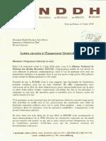 correspondance adressée au responsable  l'Inspection Générale de la Police Nationale d'Haïti (IGPNH),  Ralph Stanley Jean Brice