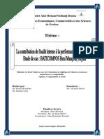 La Contribution de l'Audit Interne à La Performance de l'Entreprise- Bouras Boukhalfa- Skandar Naim