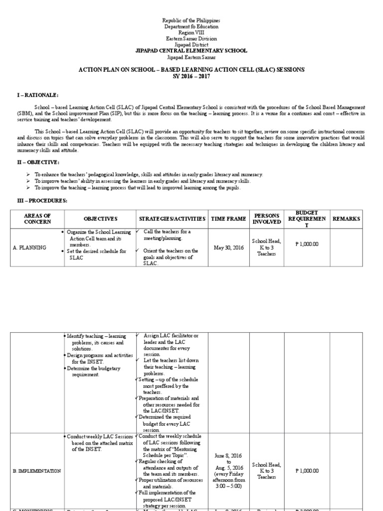 Action Plan in School Lesson Plan – Management Action Plan Template