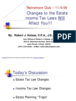 Recent Changes to the Estate and Income Tax Laws Will Affect You