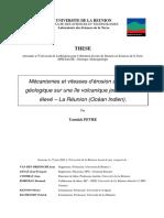 Mécanismes et vitesses d'érosion à l'échelle géologique sur une île volcanique jeune à relief élevé – La Réunion (Océan Indien). FEVRE Y. 2005 Thèse Doctorat