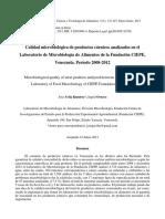 Calidad Microbiologica de Productos Carnicos Analizados en El Laboratorio de Microbiologia de Alimentos de La Fundacion Ciepe Venezuela Periodo 2008 2012