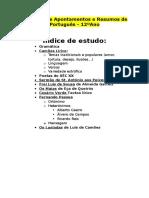 Listagem de Apontamentos e Resumos de Português