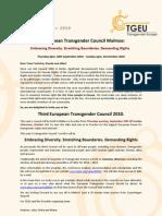 Invitation to the 3rd European Transgender Council Malmo 2010
