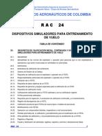 RAC 24 - Dispositivos Simuladores Para Entrenamiento de Vuelo