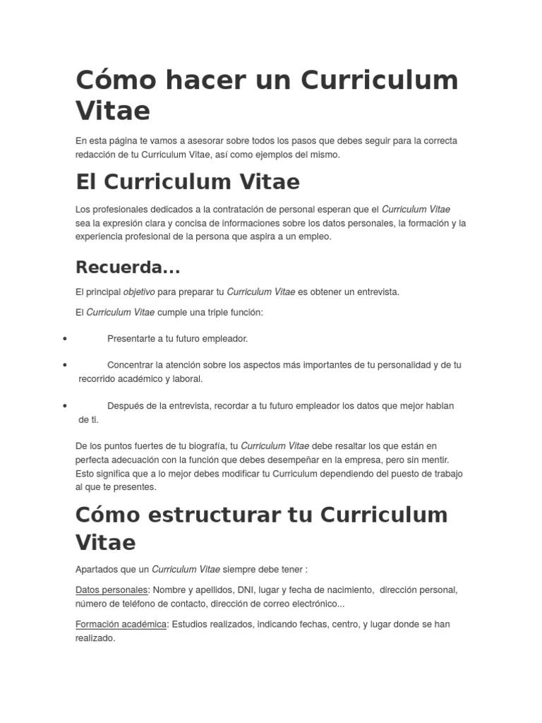 Cómo Hacer Un Curriculum Vitae