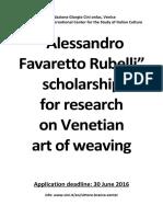 Favaretto Rubelli Scholarship Announcement