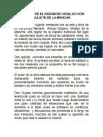 Resumen de El Ingenioso Hidalgo Don Quijote de La Mancha