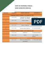 Horario de Examenes Finales Derecho 2016