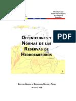 Definiciones y Normas de Las Reservas de Gas Natural, Condensado, Petróleo Crudo y Sustancias Asociadas