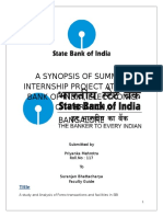 A Synopsis of Summer Internship Project at State Bank of India