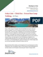Gokyo and Chola Pass Trek | Himalayas On Foot