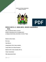 Governor's Speech Madaraka Day 2016