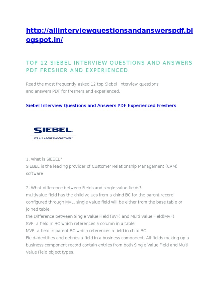 12 latest siebel interview questions and answers pdf experienced freshers - Frequently Asked Interview Questions And Answers