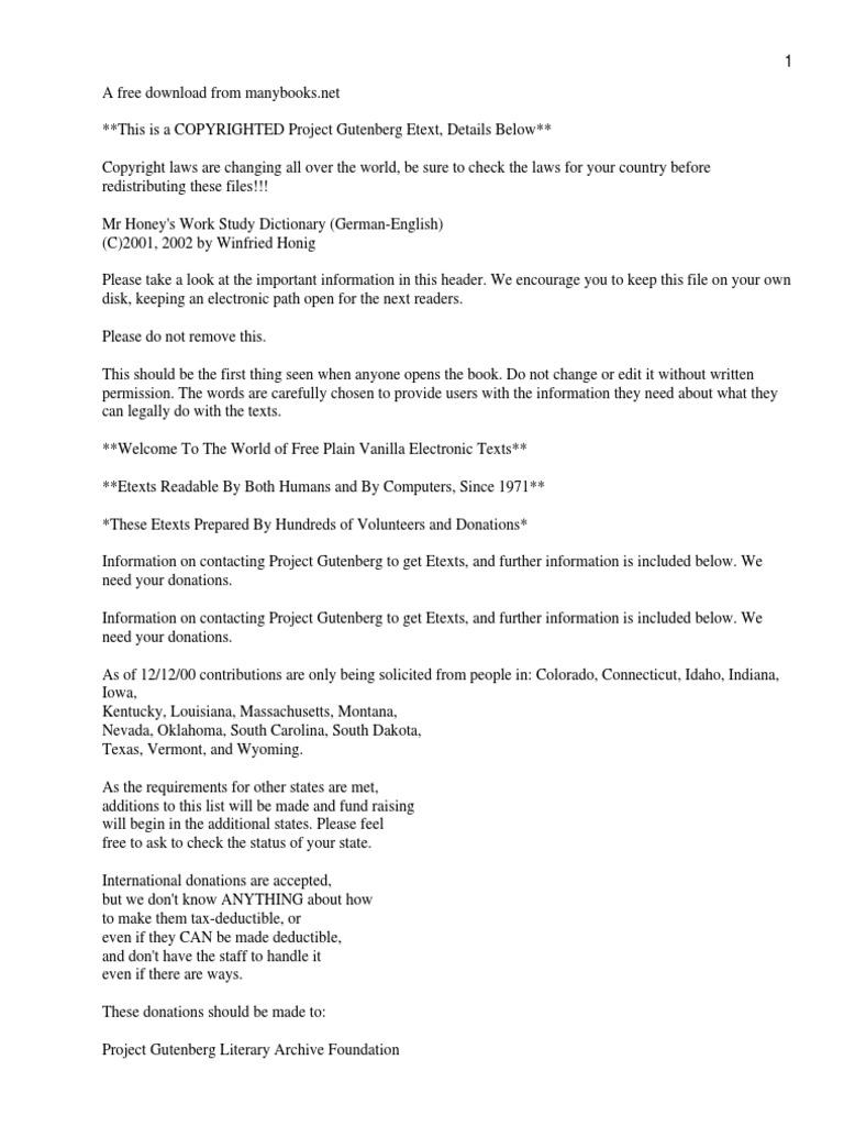 Mr Honey\'s Work Study Dictionary (German-English) | Unemployment ...