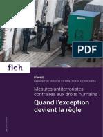 Rapport FIDH Mesures antiterroristes contraires aux droits humains