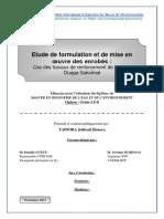Étude Formulation Et Mis en Oeuvre Des Enrobées
