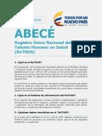 Abece Registro Unico Nal Talento Humano Rethus 20160104