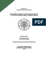 Proposal PKL manajemen kontrol kualitas bahan baku pakan ternak di PT Santosa Agrindo