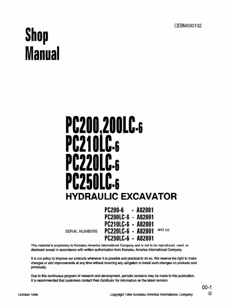 Komatsu PC200-6 Shop Manual | Rope | Screw