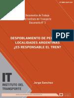 Despoblamiento de pequeñas localidades argentinas ¿Es responsable el tren?