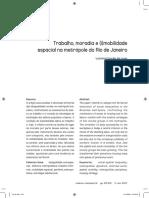 Trabalho, Moradia e (i)Mobilidade Espacial Na Metrópole Do Rio de Janeiro