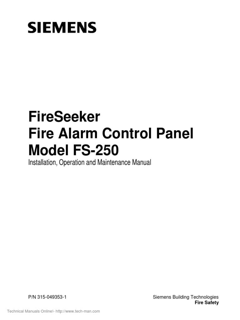 Siemens Fireseeker FS 250 Operation Installation Manual
