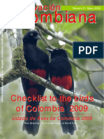Checklist to the Birds of Colombia 2009