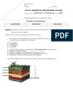 Prueba de Cs. Naturales las capas de la tierra y tipos de suelo
