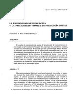 Elejabarrieta, Francisco., La Rigurosidad Metodológica y La Precariedad Teórica en Psicología Social