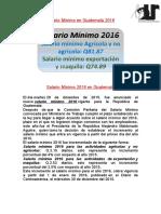 Salario Mínimo en Guatemala 2016