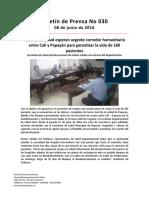 Boletín 030 Actores de Salud Esperan Urgente Corredor Humanitario Entre Cali y Popayán Para Garantizar La Vida de 160 Pacientes