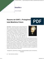 Resumo de KANT, I. Prolegômenos a Toda Metafísica Futura _ Discursus_ a Filosofia e Seus Meios