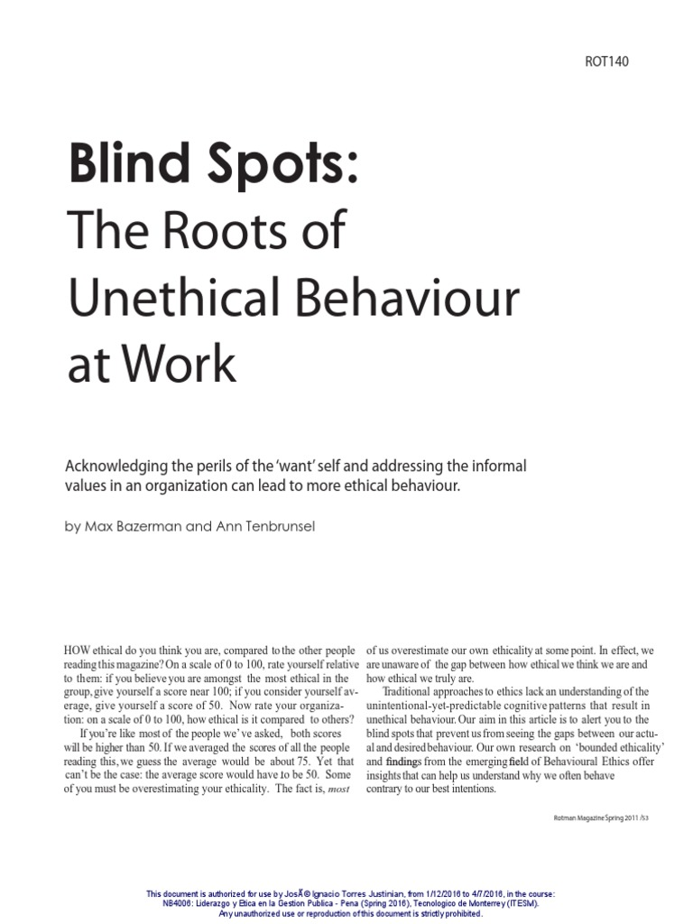 Blind Spots The Roots Of Unethical Behaviour In Life And