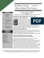 Milo Baker Chapter Newsletter, February 2008 ~ California Native Plant Society