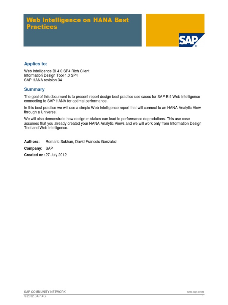 Webintelligence On Sap Hana Best Practices Ibm System I Sap Se