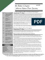 Milo Baker Chapter Newsletter, April 2007 ~ California Native Plant Society