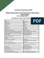 Participant's General Information Form_Koshi Media Field Visit_April 2016